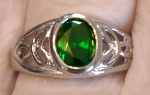 Stainless Ring with Green CZ