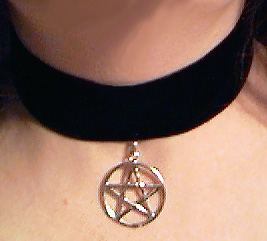 Wide velvet choker with sterling pentacle