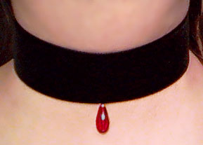 Wide velvet choker with red glass drop